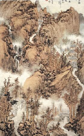 清代高僧画家髡残国画山水作品欣赏