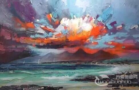 油画火烧云风景的绘画教程