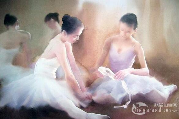 柳毅人物水彩画《芭蕾少女》作品欣赏