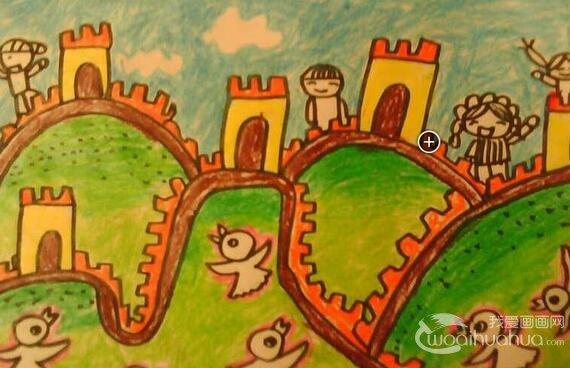 儿童草原风景水彩画