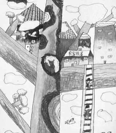 儿童绘画图片欣赏:我心中的农家书屋