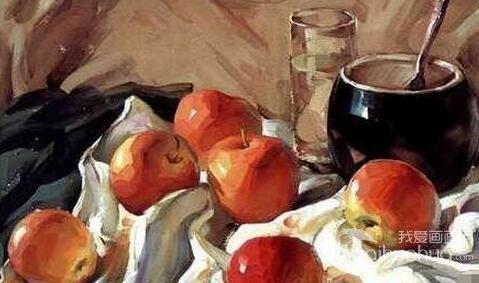 苹果陶罐静物组合水粉画教程步骤