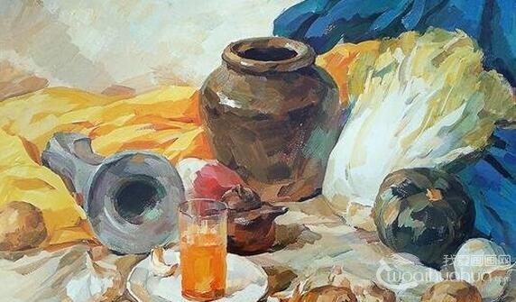陶罐、土豆、白菜静物组合水粉画教程详解