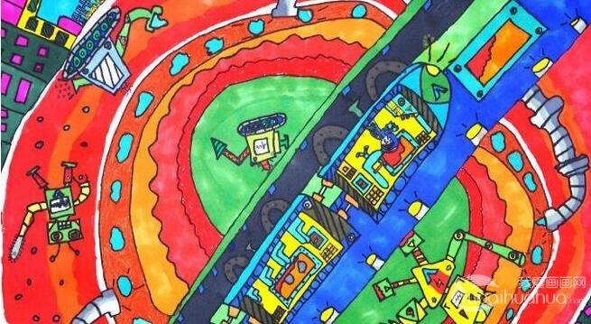 小学一年级科幻画作品大图欣赏