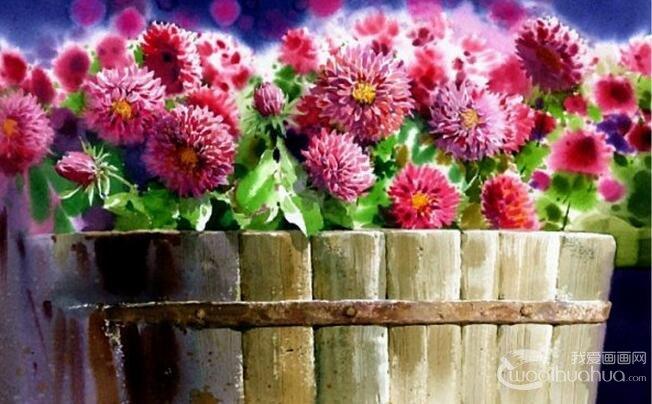 韩国画家申宗植水彩花卉风景画赏析