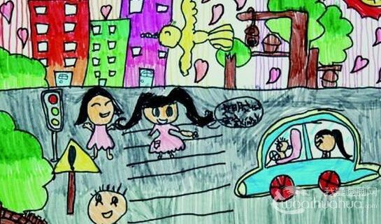 儿童交通安全书画在滨州市政大厅展出
