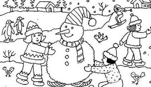 冬天雪景简笔画作品欣赏 儿童画教程 学画画 我爱画画网