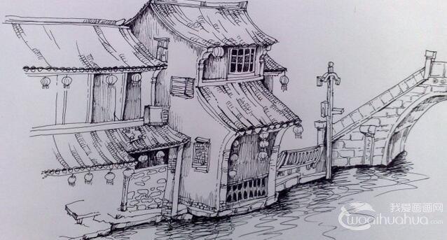 素描 欧式街道建筑