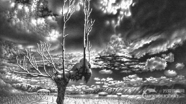 Guram Dolenjashvili逼真雪景风景素描画