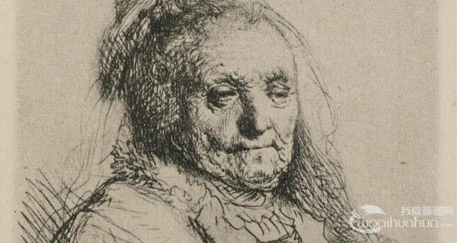 伦勃朗人物半身像素描作品欣赏