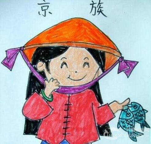 少数民族儿童肖像蜡笔画作品欣赏