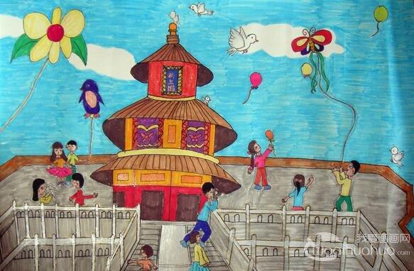 祝福祖国--一年级国庆节儿童画