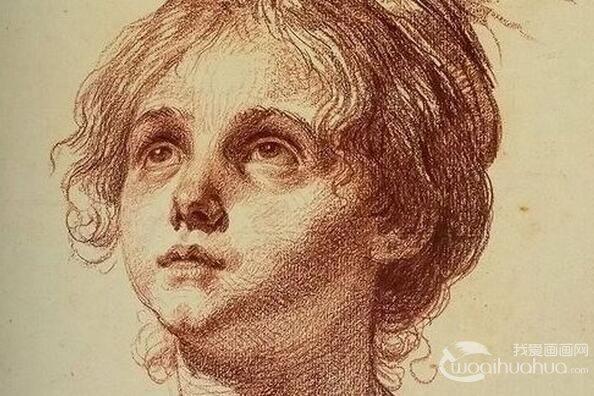 大师让・巴蒂斯特・格勒兹头像素描作品