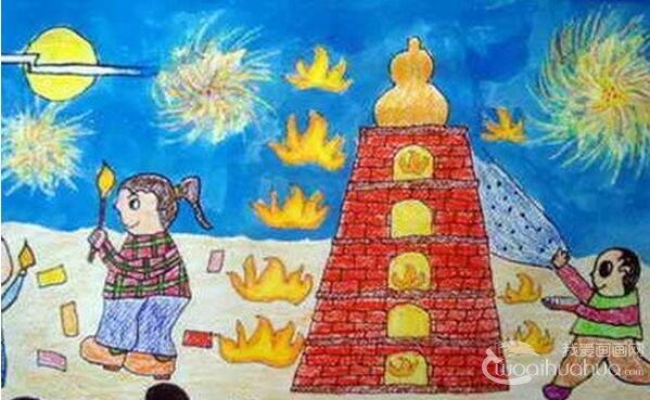 中秋节儿童蜡笔画作品欣赏