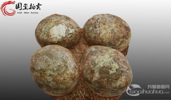 国玺拍卖征得珍贵古生物四连体恐龙蛋化石