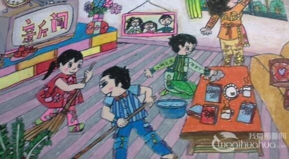 儿童画:暑假生活儿童蜡笔画欣赏