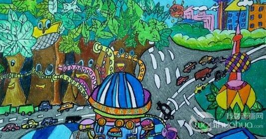 我心中的未来世界科幻画图片 儿童科幻画 5