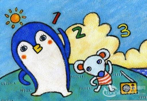 儿童画欣赏:儿童蜡笔画可爱的动物