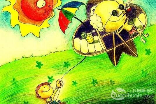儿童画欣赏:美丽的景色蜡笔画作品