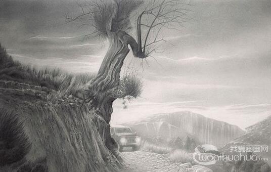 画家Carlos Castillo Seas风景素描画作品欣赏