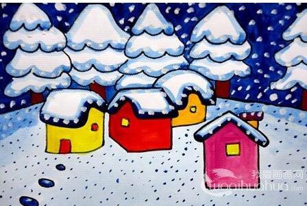 儿童水粉画:冬日景色儿童水粉画作品欣赏