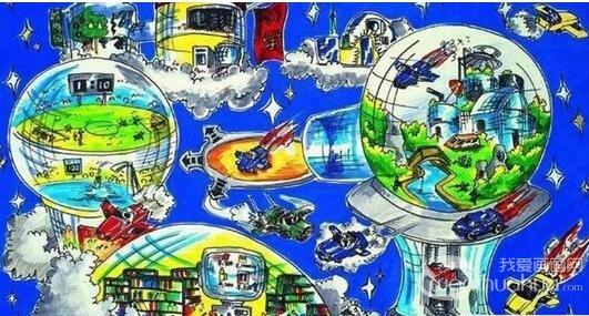 儿童科幻画作品欣赏:我的航空梦