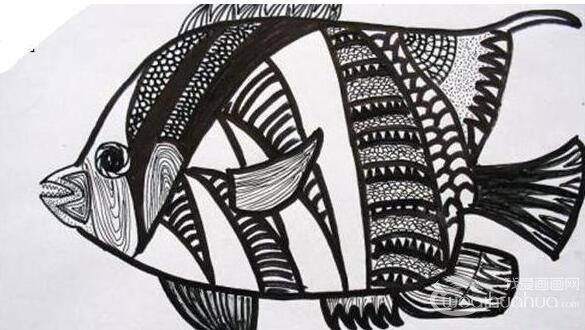 儿童画欣赏:各种装饰画黑白画