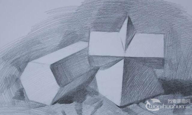 素描石膏几何体作画步骤