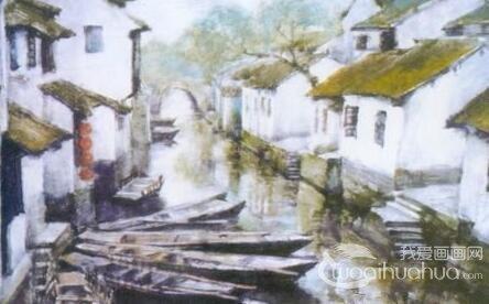 水彩写生:水彩风景写生的示范《水乡》