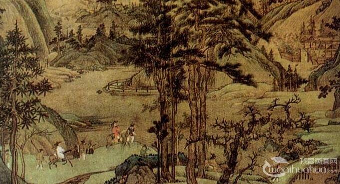 董源《江堤晚景图》_五代董源描绘江山风景的青绿山水画高清大图