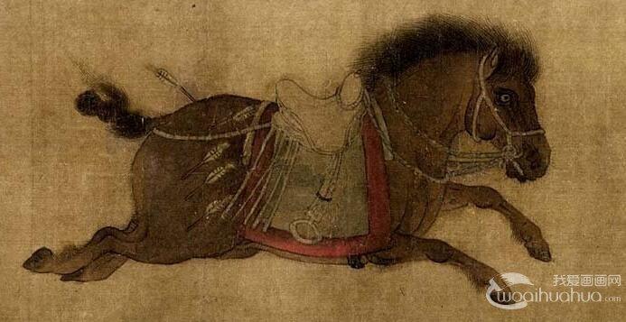 赵霖《昭陵六骏图》_摹昭陵六骏石刻唐太宗六匹战马的画卷高清大