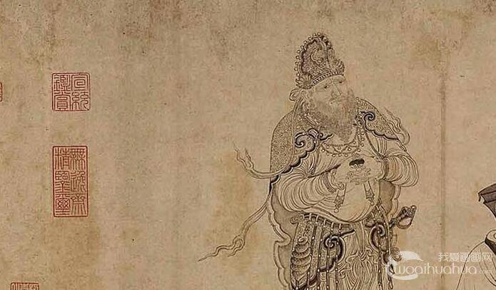 马云卿/李公麟《维摩演教图》_维摩诘与文殊菩萨辩论白描人物画