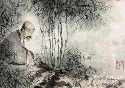 傅抱石《竹林七贤图》轴_1945年所绘七贤图水墨国画人物高清大图