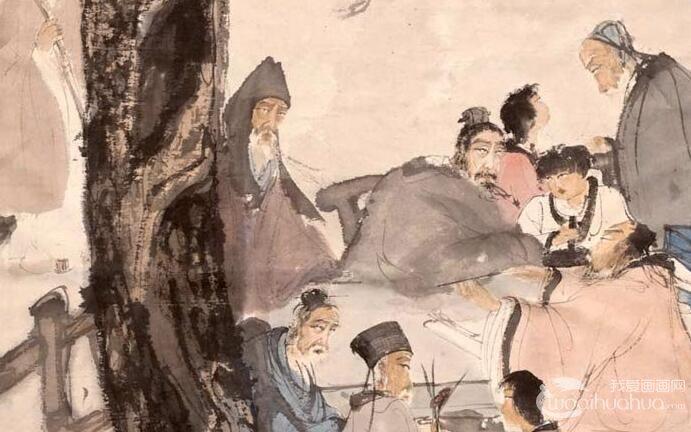 傅抱石《九老图》轴_1952创作的白居易诗意国画人物巨作高清大图