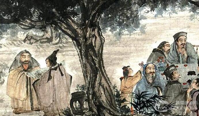 傅抱石《九老图》卷_1957创作的白居易诗意国画人物巨作高清大图