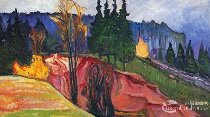 蒙克《图林根森林》_描绘德国图林根州森林的风景油画作品