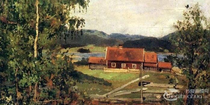 蒙克《奥斯陆郊区的风景》_描绘挪威奥斯陆郊区风格的风景油画