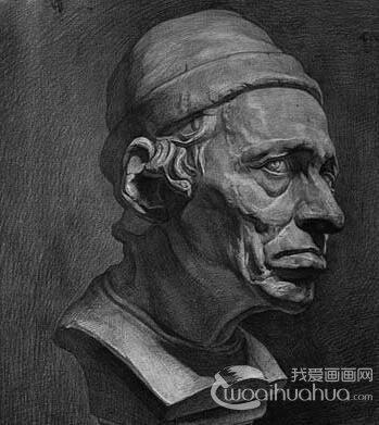 戴帽老人石膏像,戴帽男子石膏像,戴帽男子石膏素描高清大图