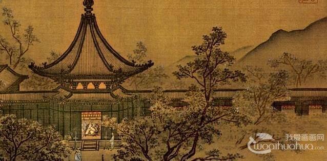 马麟《秉烛夜游图》_描绘宫廷园苑亭廊建筑和园林布局的院体画小
