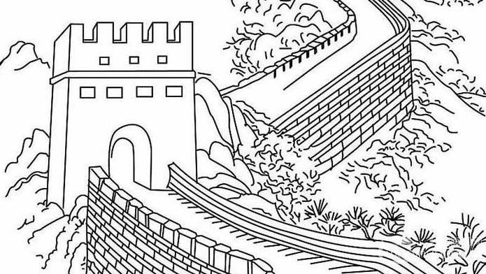 长城简笔画图片大全,万里长城线描画简笔画图片-孙悟空黑白线描简