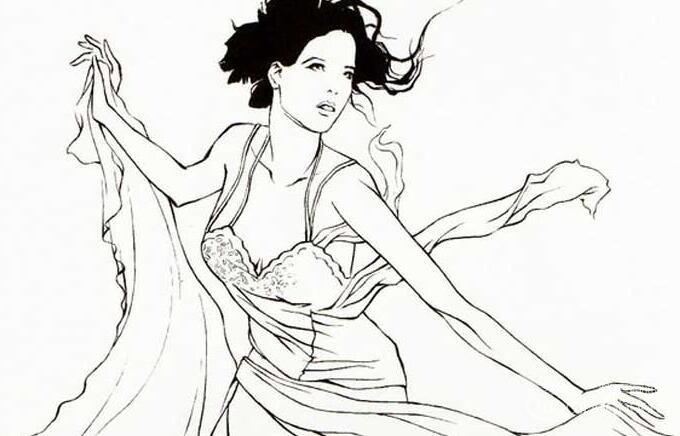 速写式线描法作品:舞动的女子速写人物图片
