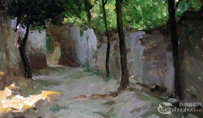 靳尚谊《村落》_1997年创作的两幅描绘农村景象的油画风景作品
