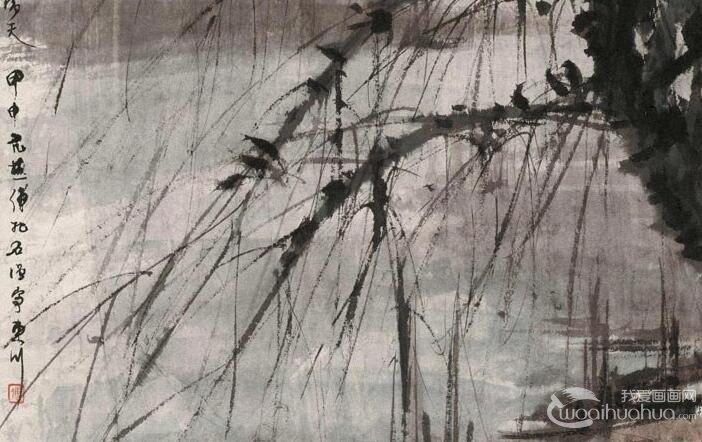 傅抱石《月落乌啼霜满天》_傅抱石1944年水墨写意风景画赏析