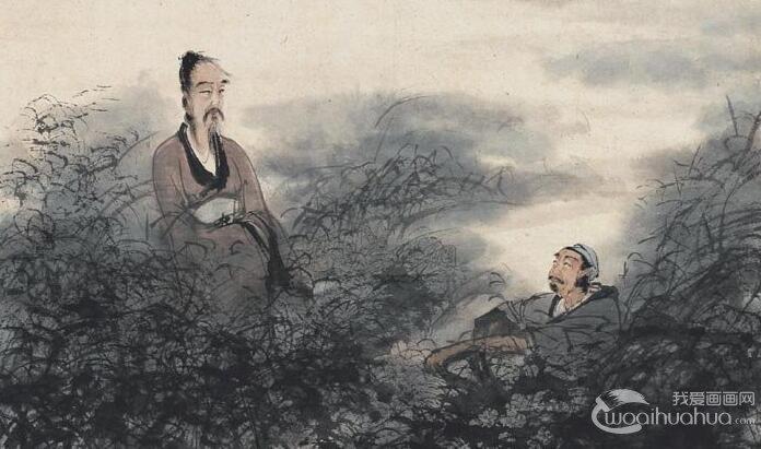 傅抱石《屈原渔父图》_描述屈原的国画写意人物及楚辞《渔父》题