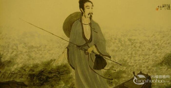 傅抱石《渔父》_以散锋笔法描绘屈原及江水风景的国画