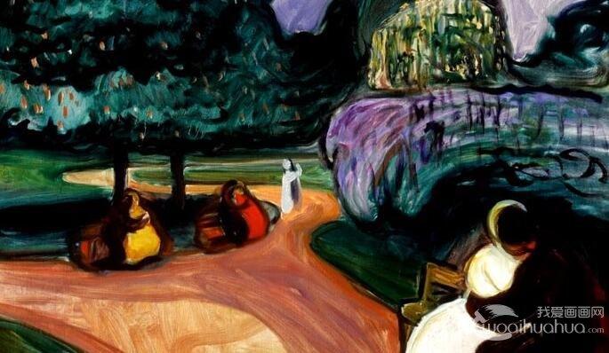 蒙克《仲夏夜》_蒙克德国旅游期间表现夏日夜晚的油画风景作品