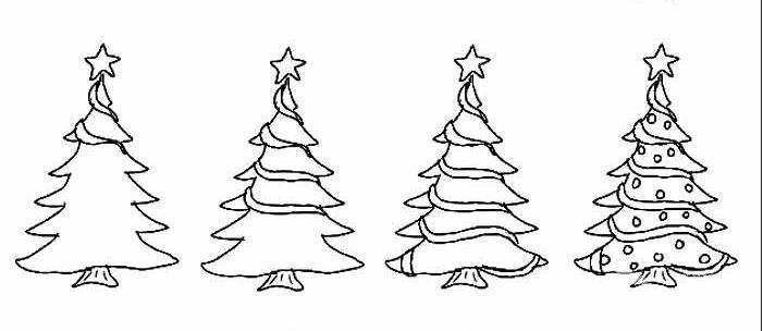 简笔画圣诞树画法,画圣诞树简笔画的步骤
