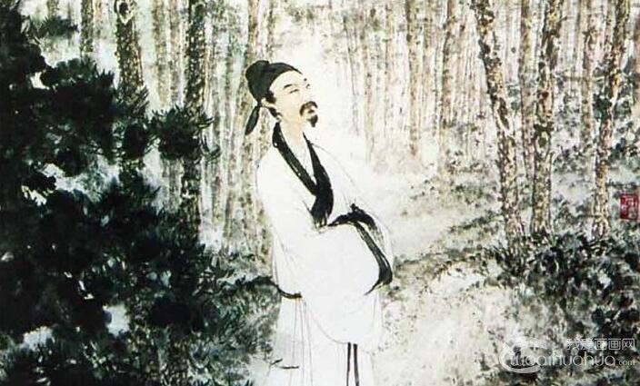 傅抱石《杜甫像》_傅抱石1960年作杜甫于松林中画像高清大图赏析