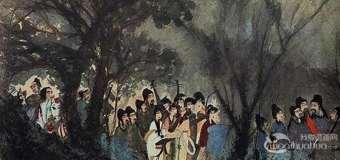 傅抱石《丽人行》_赠予郭沫若生日礼物的1944年作写意国画人物