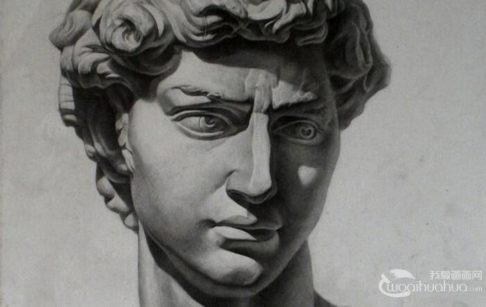 大卫石膏像,大卫头像素描,大卫石膏素描图片